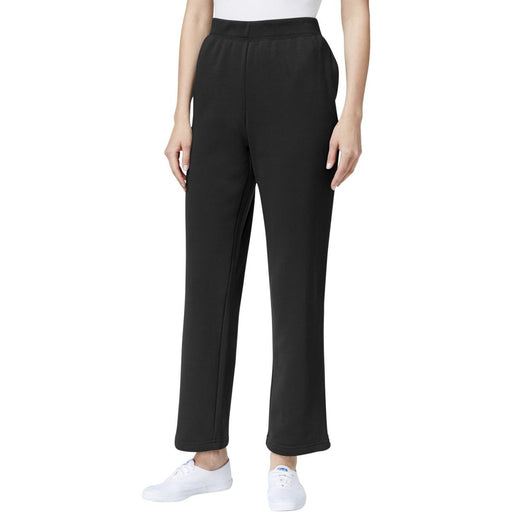 Karen Scott Petite Pull-On Fleece Pants Deep Black PL