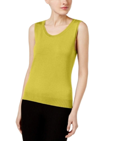 August Silk Sweater, Sleeveless Silk Blend Sweet Pear XXL