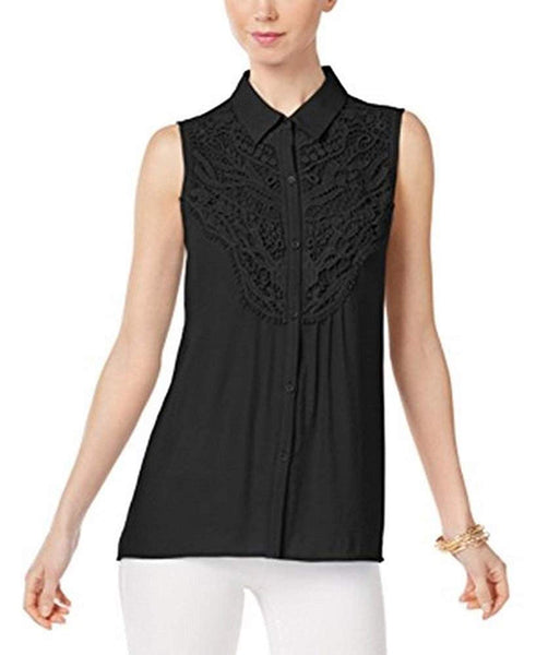 NY Collection Sleeveless Lace-Trim Blouse Black S