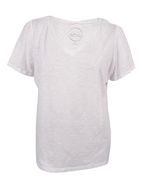 INC International Concepts Petite V-Neck Tee Bright White Petite S