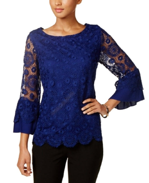 Charter Club Bell-Sleeve Lace Top Bright Sapphire XL