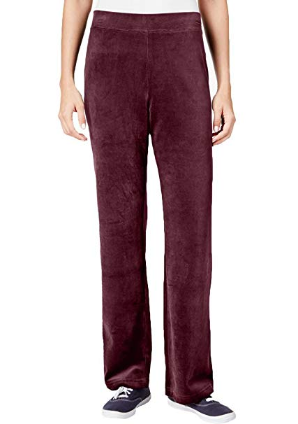 Karen Scott Petite Velour Pull-On Pants Merlot PXL