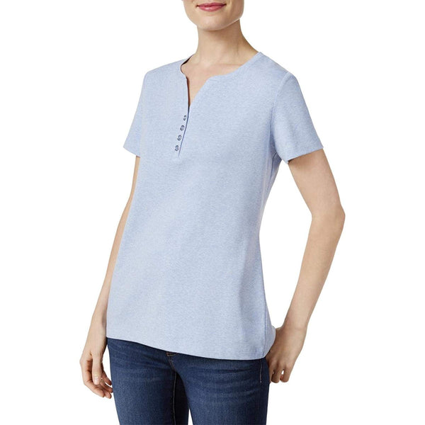Karen Scott Short-Sleeve Henley Top Light Blue Heather M