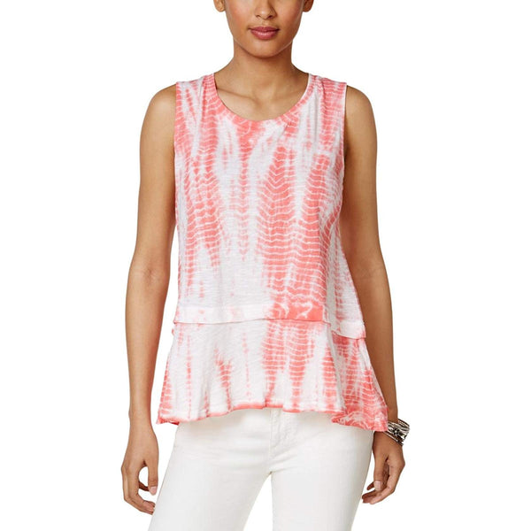 Style Co Cotton Tie-Dyed Flounce-Hem To Coral Bliss Dye L