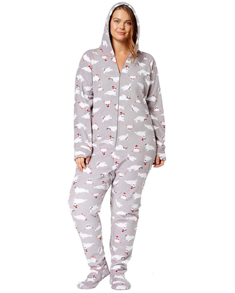 Jenni Plus Size Hooded Printed Foote Holiday Seals 1X