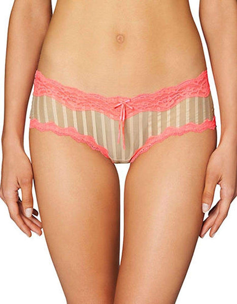 Heidi by Heidi Klum Mesh and Lace Striped Hipster Toasted AlmondNeon Flamingo XL