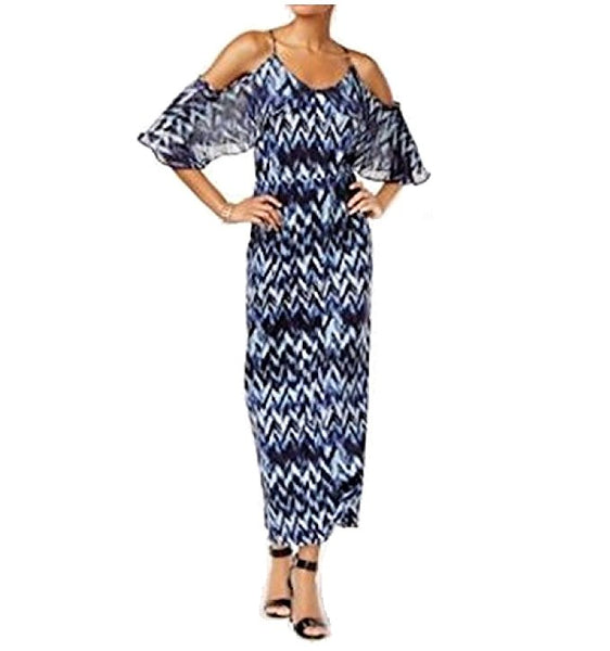 NY Collection Cold-Shoulder Maxi Dress Blue Rainy XL