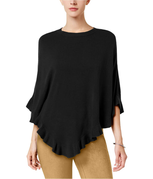 Karen Scott Ruffled Poncho Sweater Luxsoft Black SM