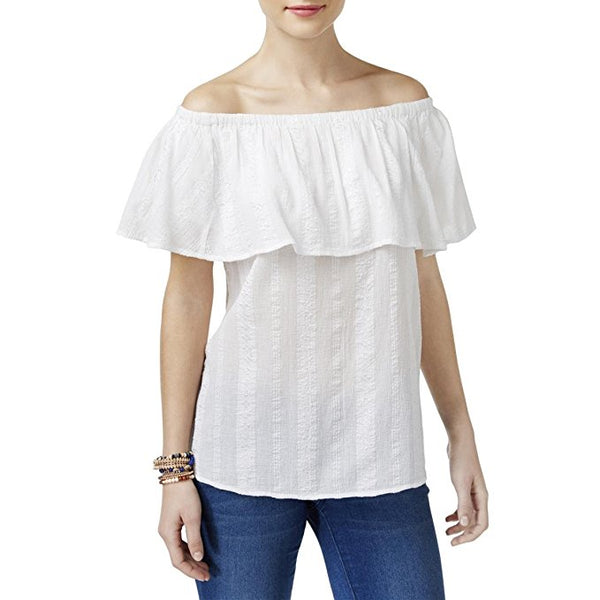 Style Co Ruffled Off-The-Shoulder Top Bright White L