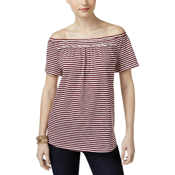 Style Co Striped Off-The-Shoulder Top Orchid Vine XL