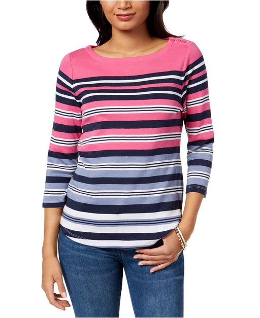 Charter Club Print Boat-Neck Top Merrie Pink Stripe Combo L