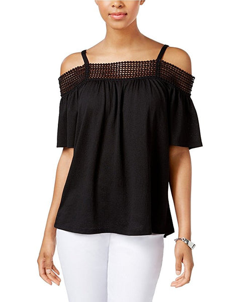 Cable Gauge Cold-Shoulder Top Black XL