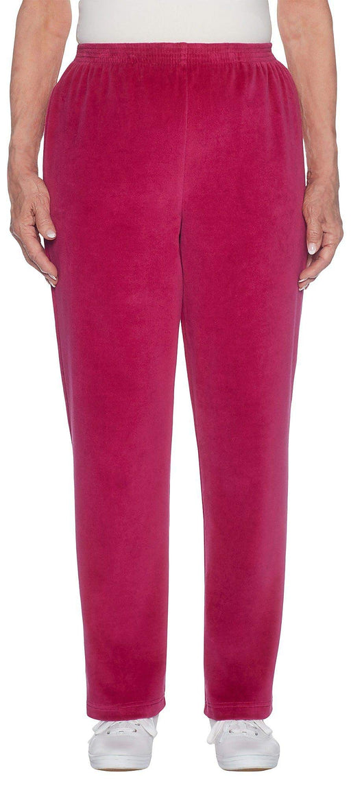 Alfred Dunner Velour Pull-On Pants Ruby 12