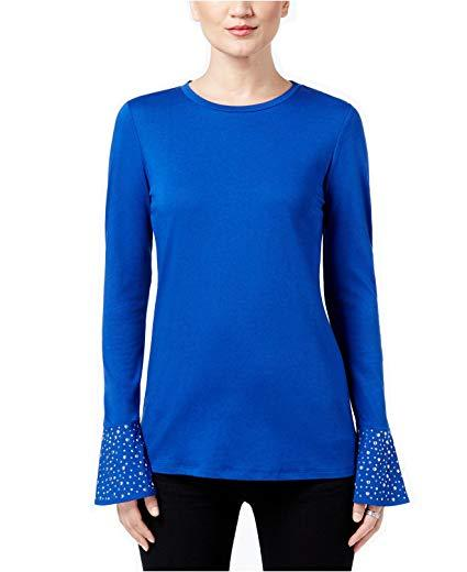 Michael Kors Embellished Bell-Sleeve Top Bright Royal XS