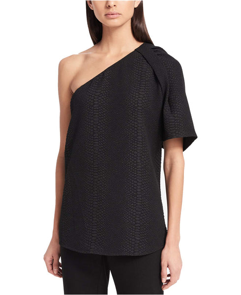 Calvin Klein Textured One-Shoulder Top Black L
