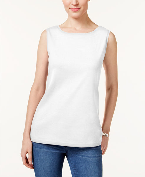 Karen Scott Sleeveless Boat-Neck Top Light Blue Heather L