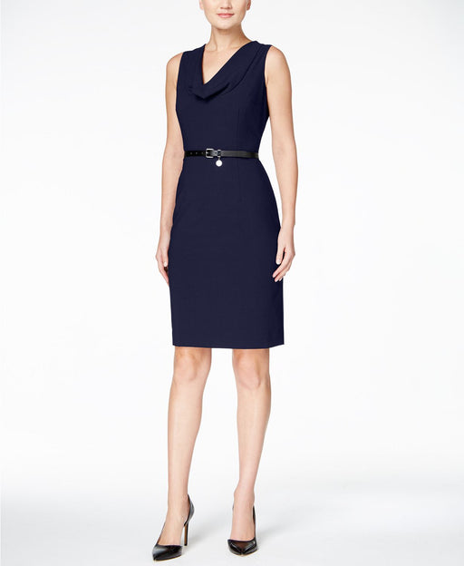 Calvin Klein Dress, Sleeveless Belted Sheat Black 4