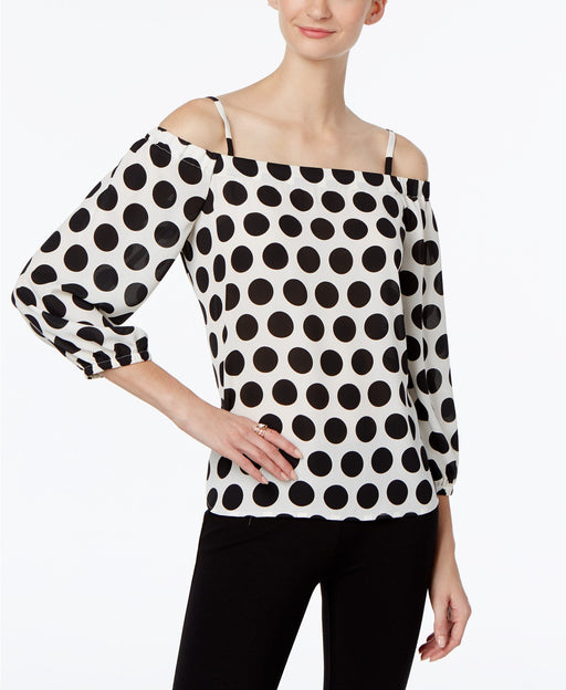 INC International Concepts Petite Printed Cold-Shoulder T Bold Dot PXS