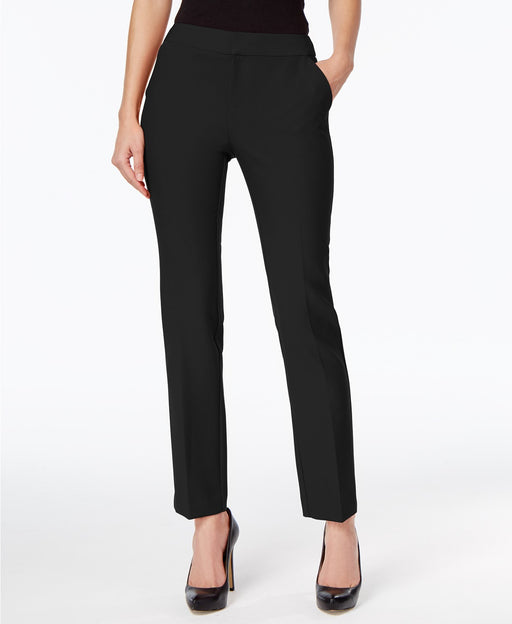 INC International Concepts Petite Straight-Leg Pants Deep Black 14P