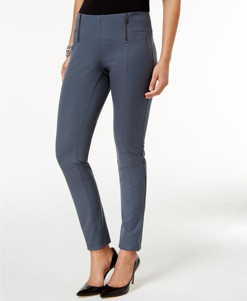Alfani Petite Double-Zip Skinny Pants Stadium Grey 10P