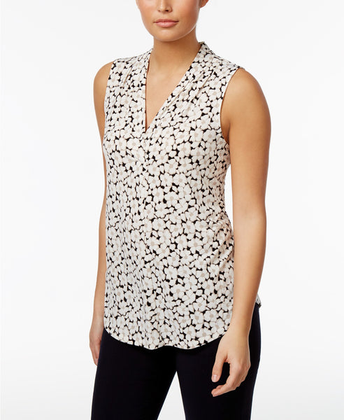 Charter Club V-Neck Floral-Print Top Intrepid Blue Iconic Combo L