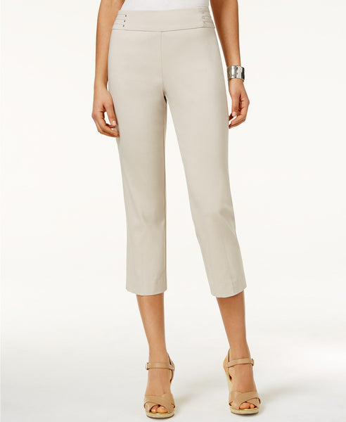 JM Collection Embellished Pull-On Capri Pant Bright White S