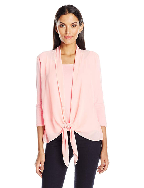 NY Collection Layered-Look Draped Blouse Blossom L