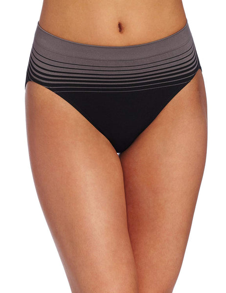 Bali Womens Comfort Revolution Seamless Hi Cut Panty, Excalibur Stripe, 10/11