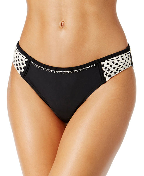 California Waves Women's Crochet-Trim Hipster Bikini Bottoms (Black, Medium)