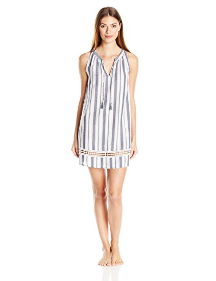Lucky Brand Crochet-Trimmed Printed Cotton Blue and White Stripe M