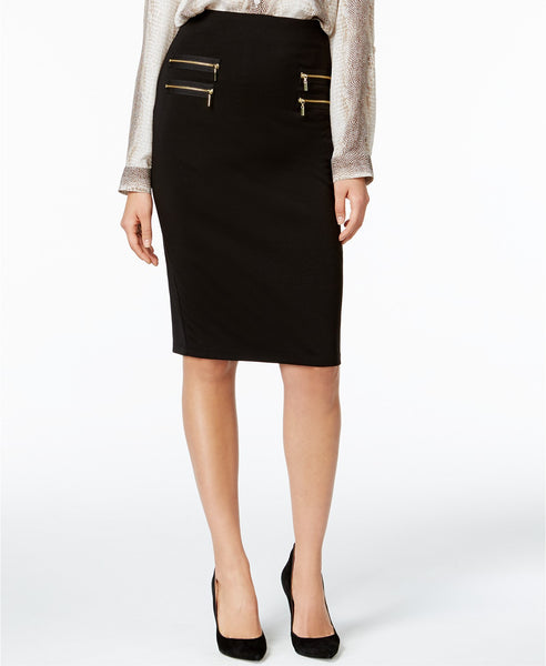 Olivia Grace Zip-Pocket Pencil Skirt Black S