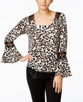 NY Collection Lace-Trim Bell-Sleeve Top Animal Print With Black Lace L
