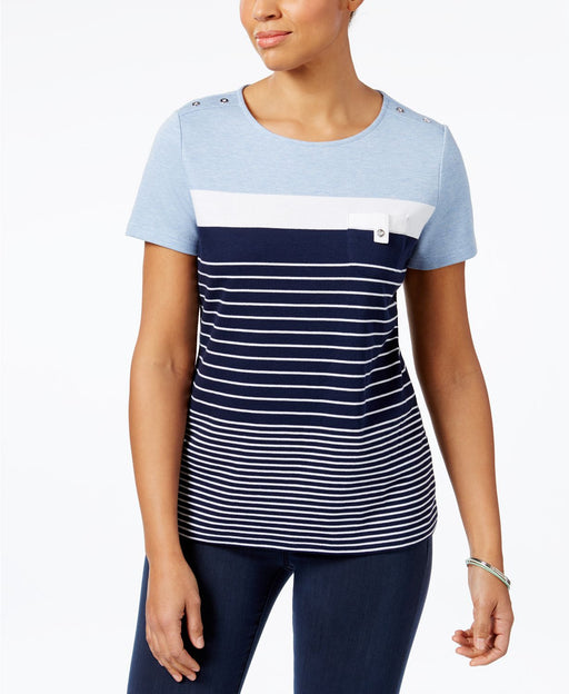 Karen Scott Striped Button-Shoulder Top Light Blue Heather M