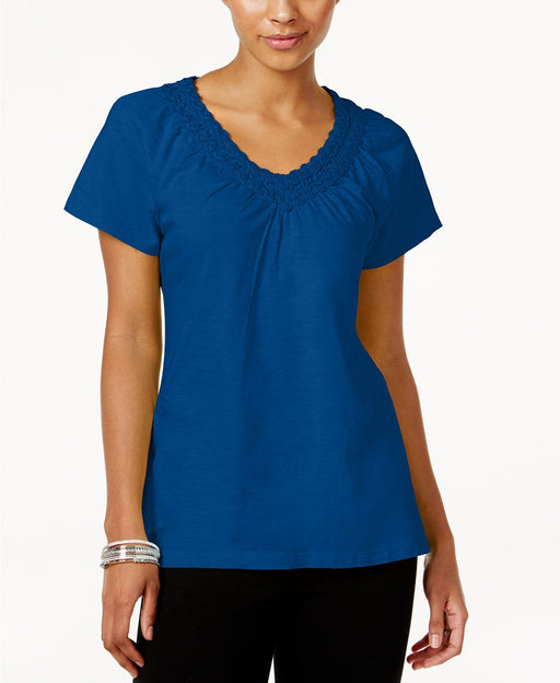 Karen Scott V-neck Crochet Top Blue Steel M