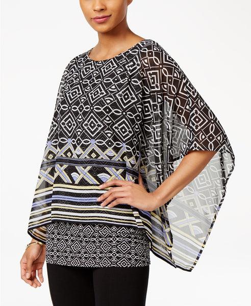 JM Collection Printed Banded-Bottom Poncho Taj Geo M