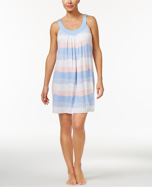 Alfani Striped U-Neck Chemise, Only a Blue Gradient L