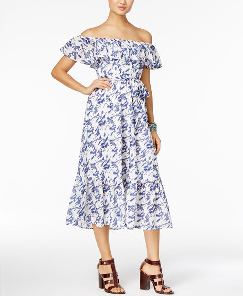 Olivia Grace Cotton Off-The-Shoulder Midi D Floral Dot XL