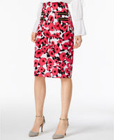 Olivia Grace Zip-Pocket Pencil Skirt Azalea Pink Combo S