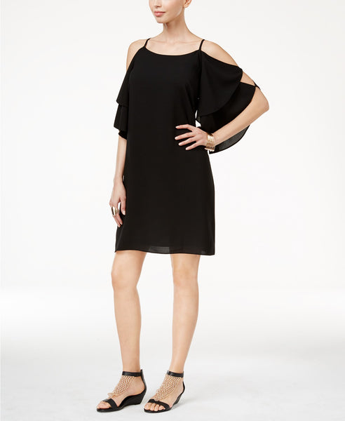 Thalia Sodi Cold Shoulder Shift Dress Deep Black M