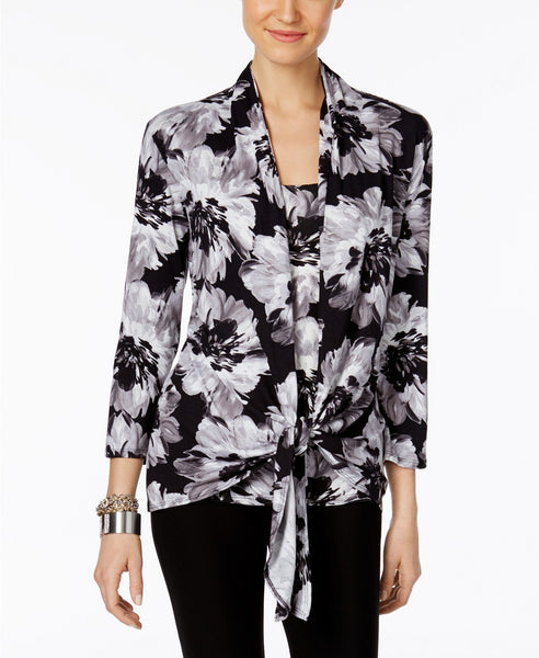 NY Collection Printed Layered-Look Draped Bl Neutral Floral L