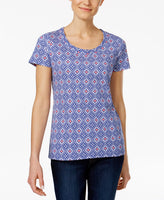 Charter Club Printed Cotton T-Shirt, Only a Intrepid Blue Combo M