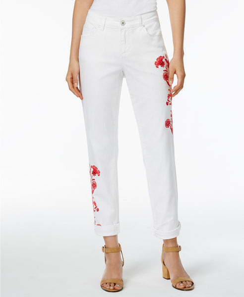 Style Co Embroidered Boyfriend Jeans Bright White 16