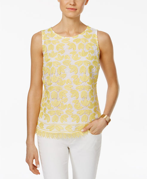 Charter Club Floral-Lace Shell Bright White M