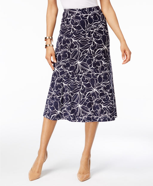 JM Collection A-Line Jacquard Skirt Leaf Flow Navy XL