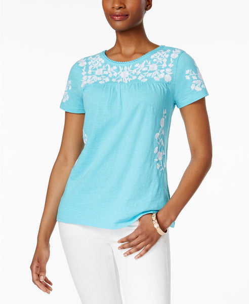 Charter Club Cotton Embroidered Top Clear Coast S