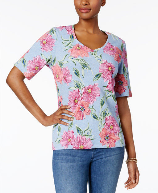 Karen Scott Printed V-Neck T-Shirt Light Blue Heather XS