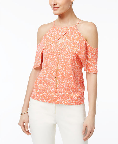 Thalia Sodi Ruffled Off-The-Shoulder Top Coral Combo S