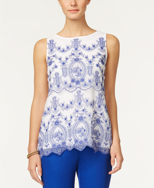 Charter Club Embroidered Mesh Top Bright White L