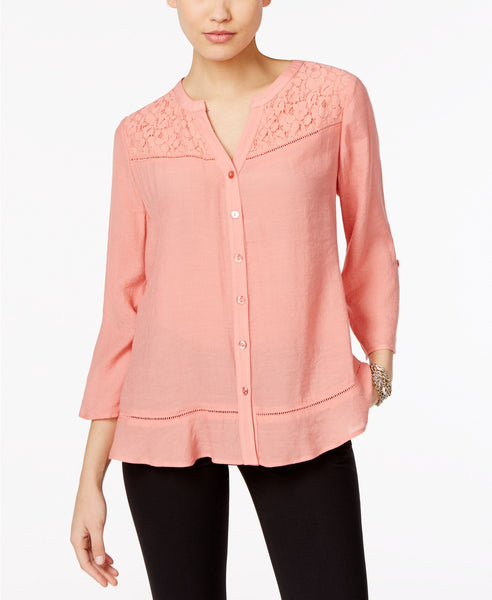 NY Collection Lace-Trim Blouse Aquarelle S