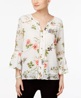 Fever Floral-Print Illusion-Sleeve B Peach Coral XL